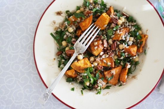 Sweet Potato and Brown Rice Salad by asplashofvanilla: Rustic, healthy and nutty, great for a brown bag lunch! #Salad #Sweet_Potato #Rice #asplashofvanilla: Brown Bag Lunches, Brown Rice Salad, Salad Sweet Potato, Sweets, Potatoes, Sweet Potato Rice, Savory Recipes, Sweet Potato Salads