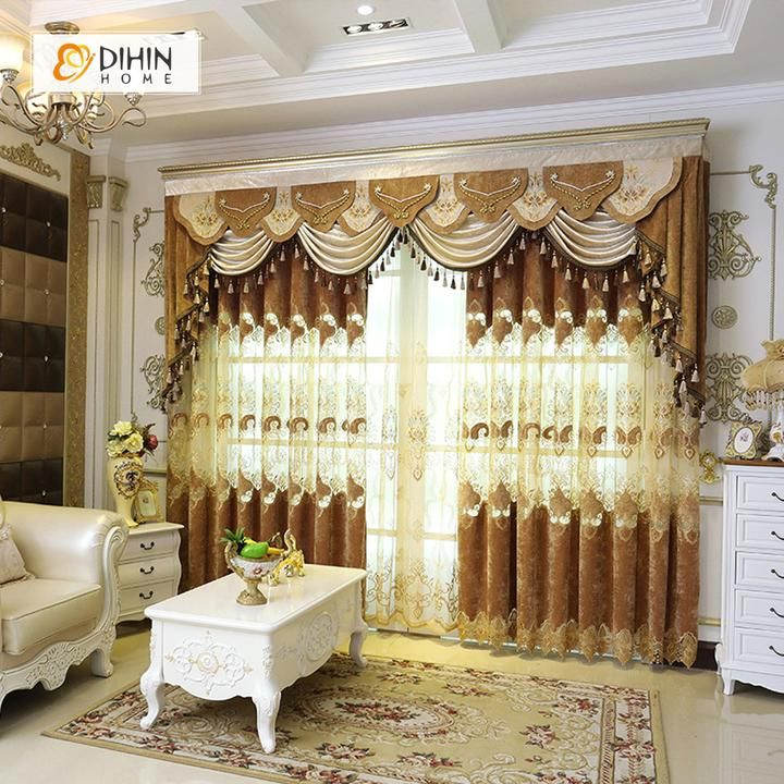Dihin Home Velvet Exquisite Luxury Embroidered Valance Blackout Curtains Grommet Window Curtain For Living Room Curtains Living Room Curtains Elegant Curtains #sheer #valances #for #living #room