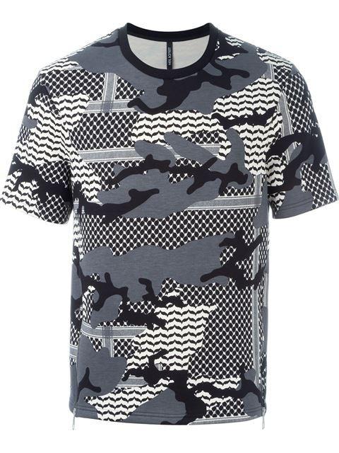 Neil Barrett camouflage pattern short sleeve sweatshirt