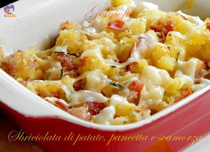 Sbriciolata di patate con pancetta e scamorza