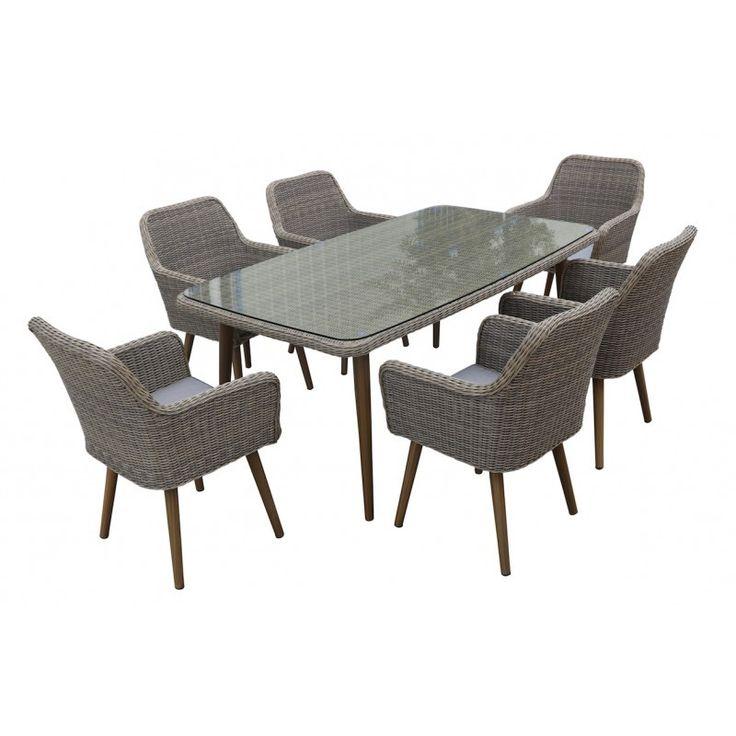 Pratique et design, la Table de jardin NASTASYA en résine tressée et aluminium (naturel, marron) vous permettra de recevoir vos convives de confortablement.