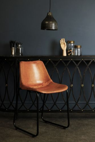 Industrial Leather Dining Chair - Brown