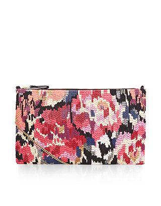 Blurred Rose Beaded Across Body Bag