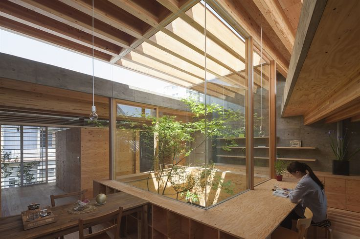 Shrimp - UID Architects - Japanese architecture; wood; cool furniture; natural light; courtyard <3