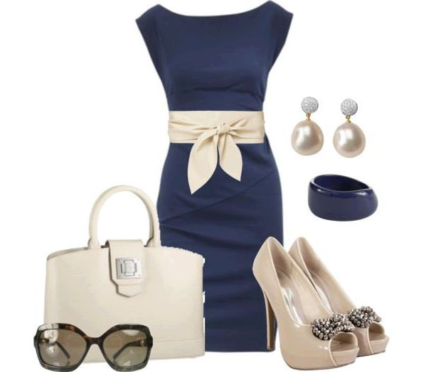 Wish | Blue and Cream Outfit with Dress, Earrings, Bracelet, Heels, Leather Bag, Sunglasses