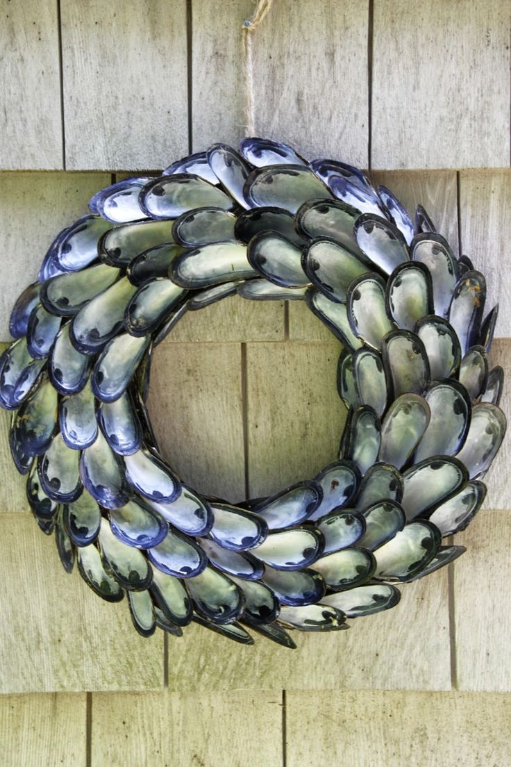 Tilly's Nest: A Coastal Inspired Shell Wreath. Mussel shells' wonderful iridescent interiors make a graphic yet softly glowing wreath.