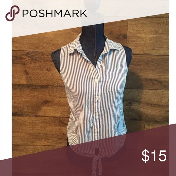 The limited blue and white stripped tank The limited.  Blue and white pin striped tank top.  56% cotton 44% rayon The Limited Tops Tank Tops