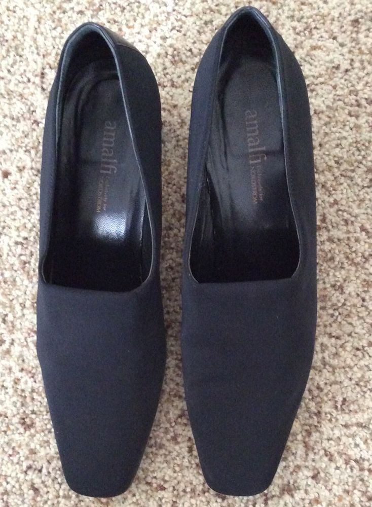 d9216e1c0ae5f AMALFI ITALY women's Fabric Slip On Heel Pump black shoes size 8 1/2 ...