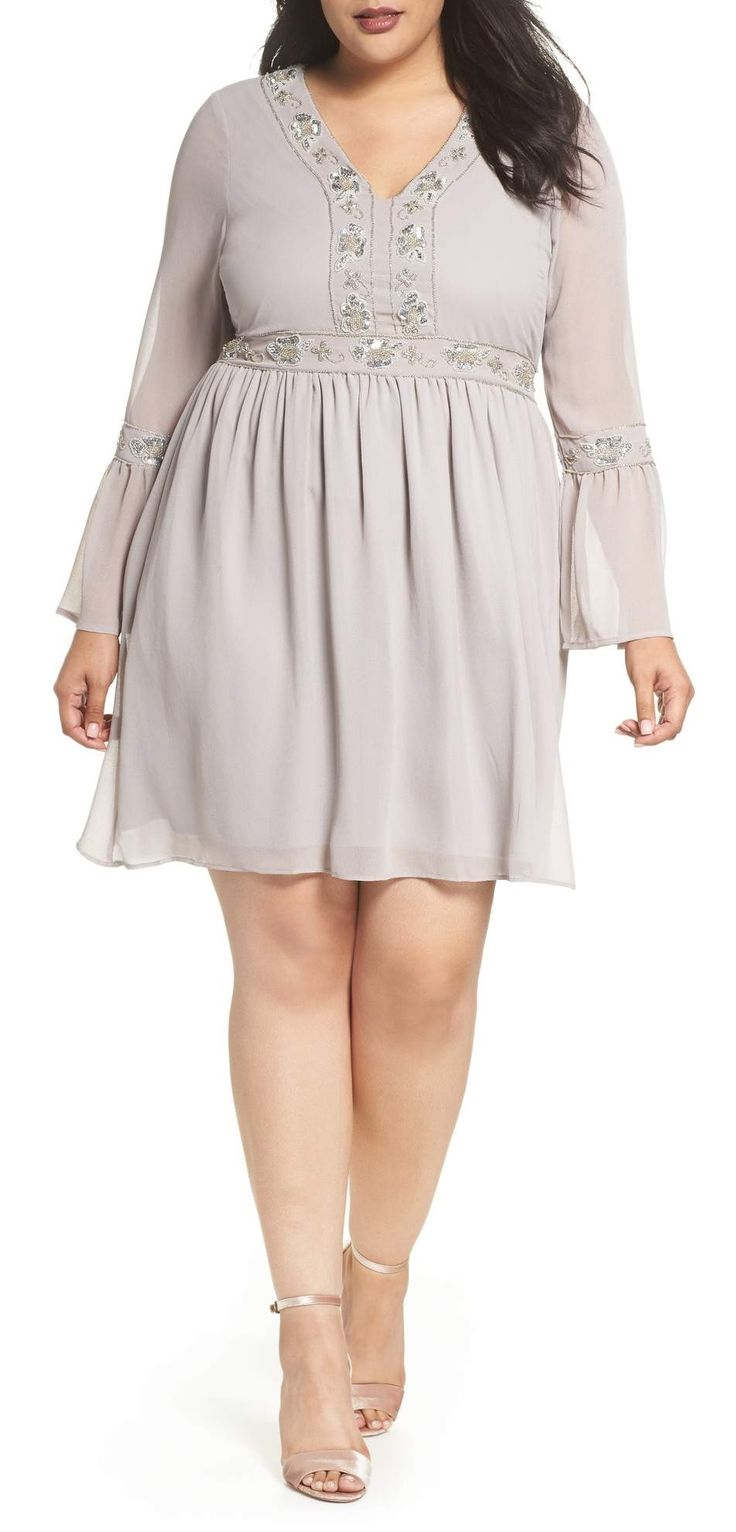 Plus Size Embellished Chiffon A-Line Dress