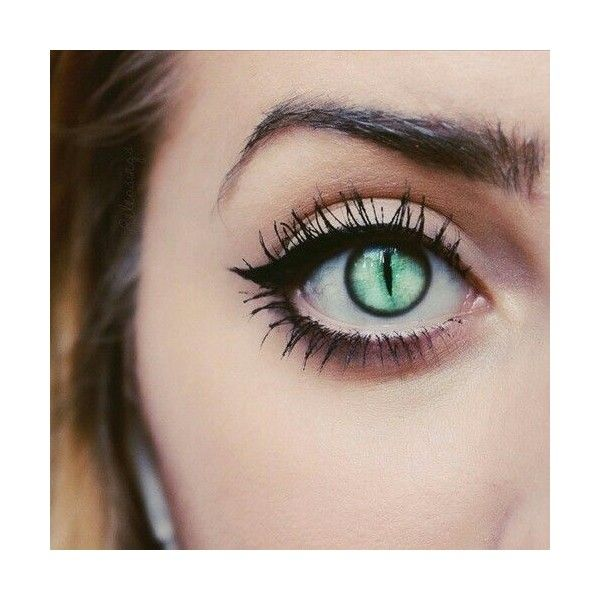 Would make awesome cat eyes lenses green love it halloween makeup... ❤ liked on Polyvore featuring beauty products and makeup