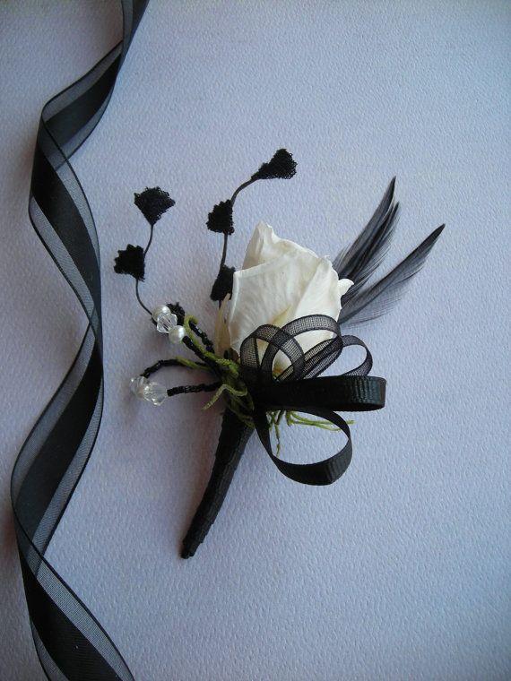 JACK Art Deco Black and White Boutonniere by DeborahLINKDesigns, $14.75