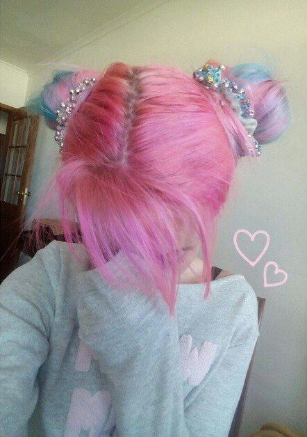 Pink and blue pastel buns
