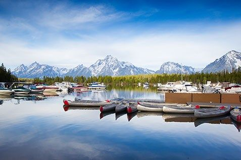 Colter Bay Village Marina  - Jackson Lake - Canoe, Kayak, Motor Boat Rentals - Historic Log Cabins - Hiking - Fishing - Family Vacation - Western Rustic Rocky Mountain Vacation - Grand Teton National Park - Wyoming