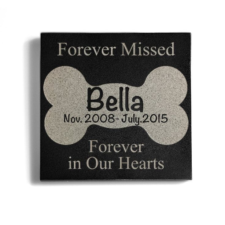 AmazonSmile : Personalized Memorial Pet Headstone Customized - Forever Missed Forever In Our Hearts - 6 x 6 Black Marble Marble : Pet Supplies
