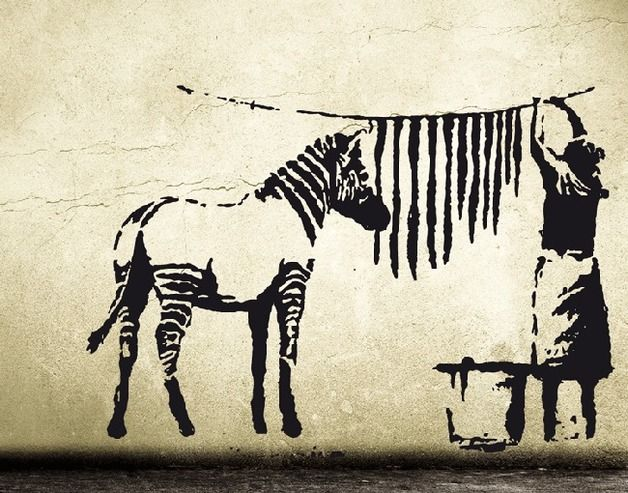 Wandtattoo banksy zebra waschstation sticker banksy decal zebra stripes laundry by - Urban art berlin wandtattoo ...