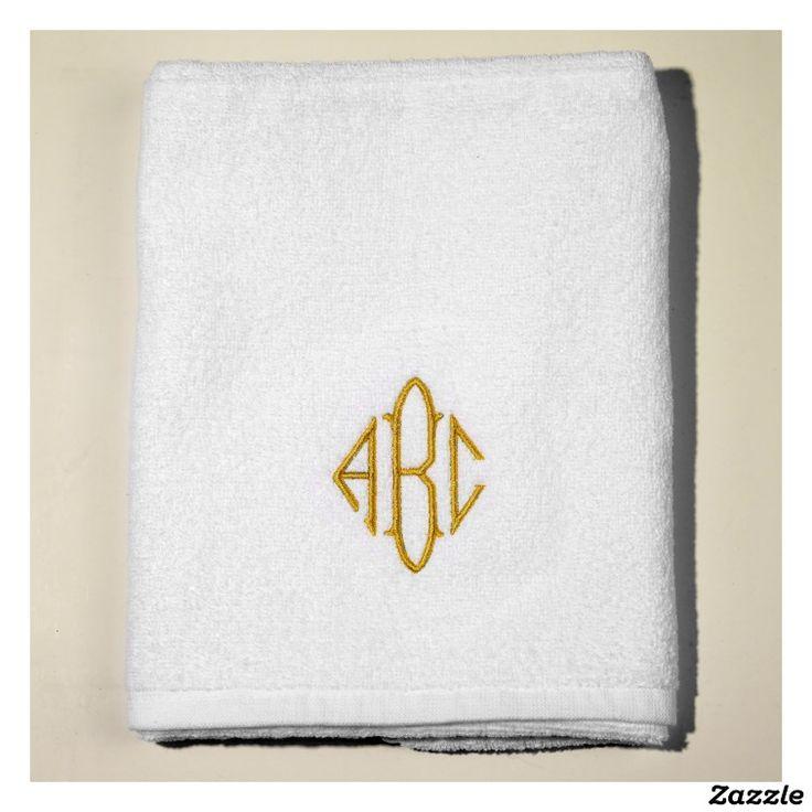Gold Monogrammed Sunny Lane White Terry Bath Towel