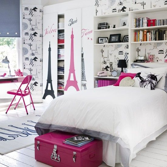 Want to cater for teenage tastes? The ice-white walls in this travel-chic bedroom keep the look fresh, while hot pink accessories add drama.