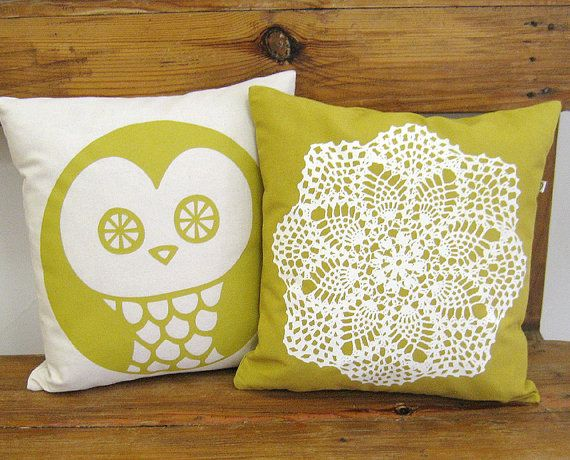 Decorative Pillow Cover  Hand screenprinted Cushion  by olula, $26.00