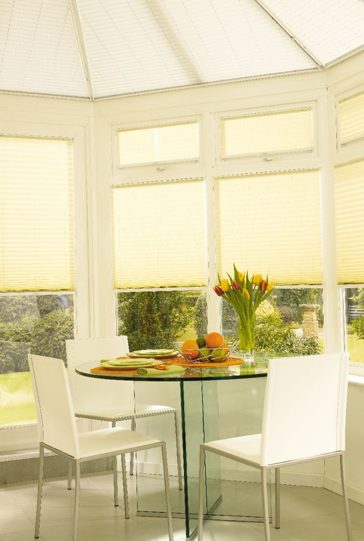 Citrus Pleated conservatory blinds from Hillarys. Find more inspiration here: http://www.hillarys.co.uk/conservatory-blinds/