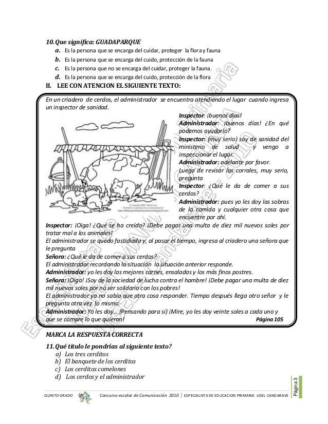 Concurso Escolar De Comunicación 2010 Especialista De Educacion Primaria Ugel Candarave Página3 Qui Lectura De Comprensión Comprensión Lectora Quinto Grado