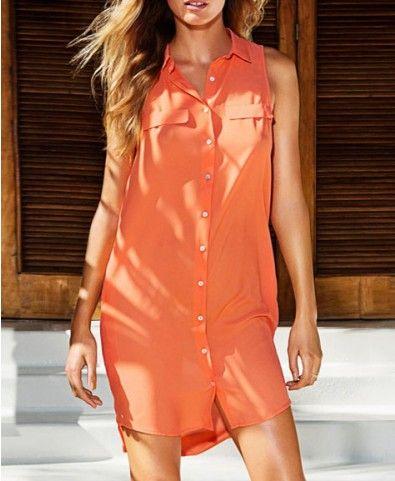 Sleeveless Chiffon Shirt Dress with High Low Hemline