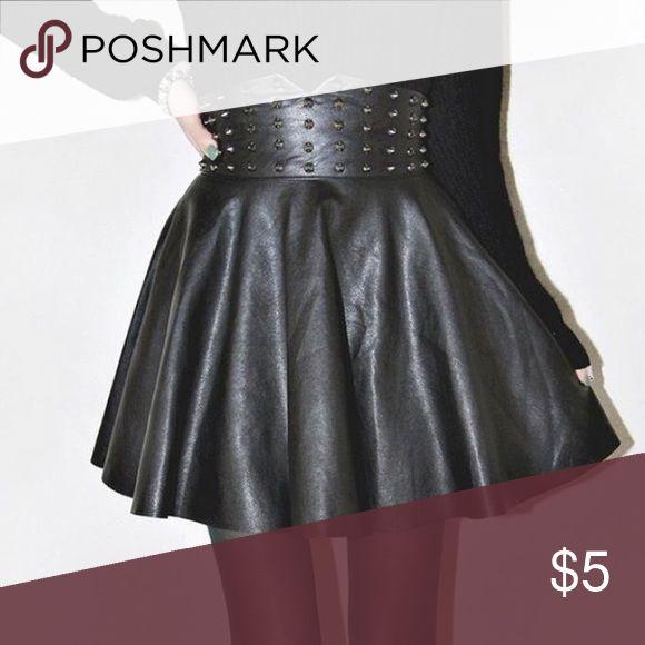 Leather skater skirt Leather skater skirt with studs Skirts Circle & Skater