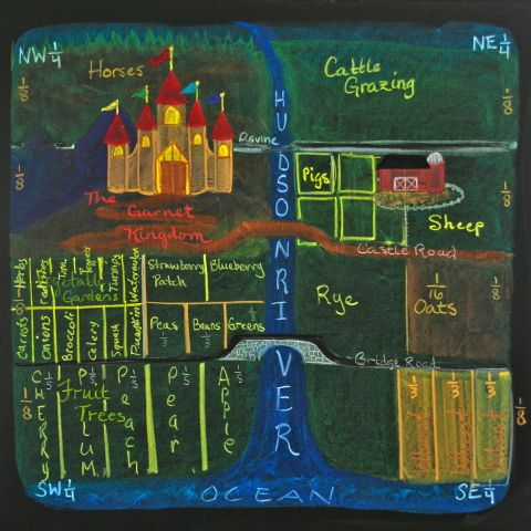 Waldorf 4th grade Math ~Teaching Fractions via pictures: a wonderful chalkboard drawing depicting a castle and its surrounding kingdom.