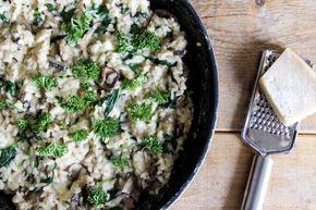 Recept: Romige risotto met champignons, spinazie en tijm