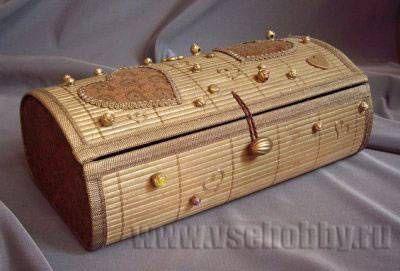 шкатулка ручной работы из бамбуковой салфетки
