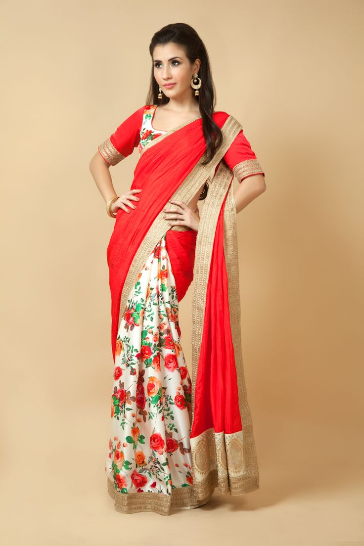 Crushed silk pallu with satin printed pleats embellished with lace and gota work.  Item number W15-130