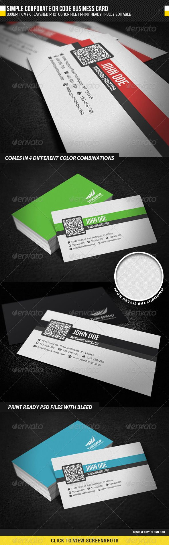 Simple Corporate QR Code Business Card - Business Card Template PSD. Download here: http://graphicriver.net/item/simple-corporate-qr-code-business-card/2200821?s_rank=262&ref=yinkira