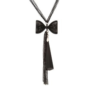 """Passionate Long Charcoal Black Multitier Chain Link Necklace Women Jewelry 30"""""""