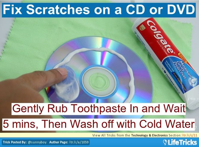 Gently rub in toothpaste all over the scratched areas of your CD or DVD. Let sit for 5 or so minutes then wash it clean with cold water. This will fix most minor scratches.