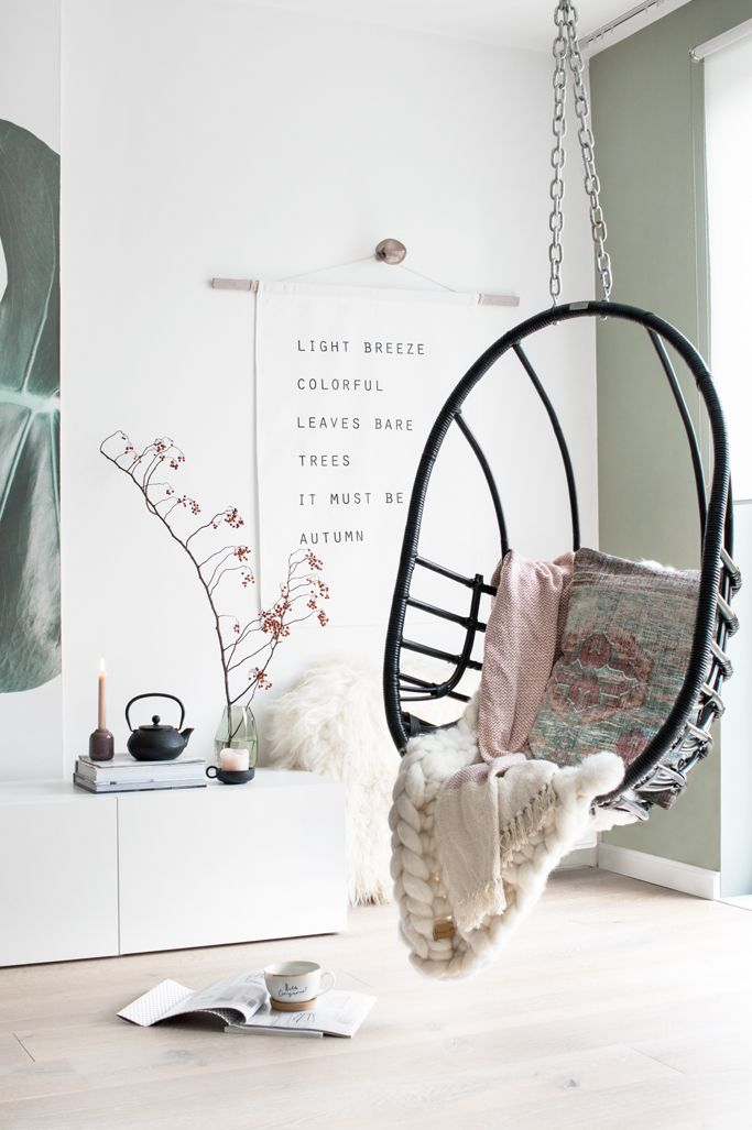Wanddoek Autumn - hanging chair - door Tanja van Hoogdalem