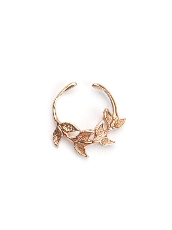Flat Fern Septum Ring yeah but imagine its a finger ring with pretty rose gold leavesss