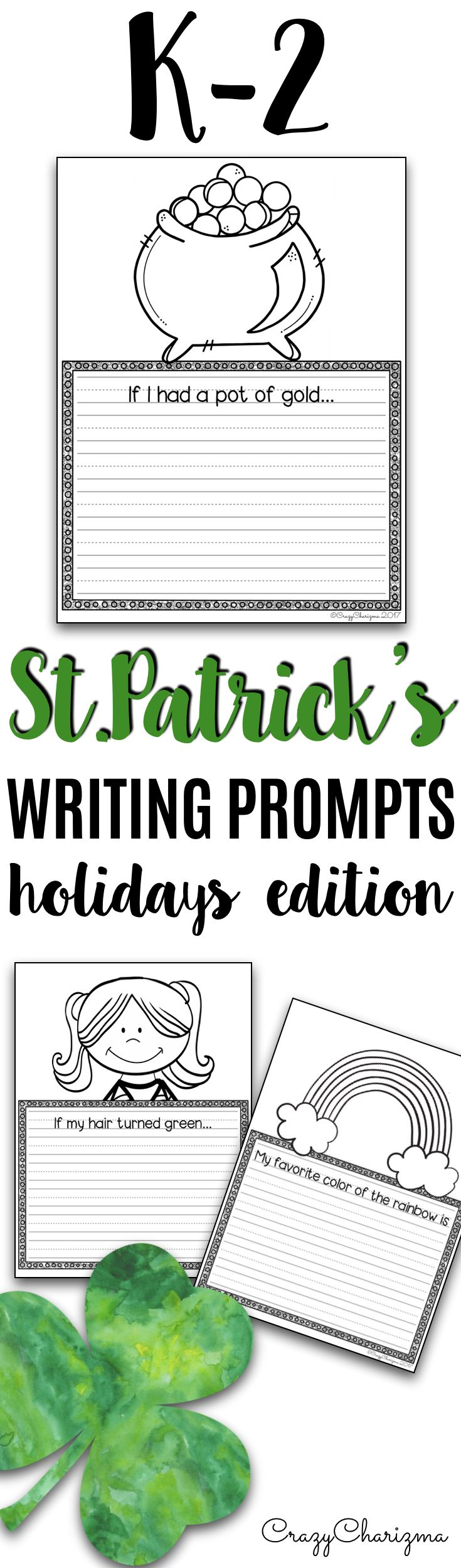 Are you ready for St Patrick's Day? Grab these writing prompts which are quick and will definitely engage your little kids. The set can help you take your students through the writing process and get them excited about it. This packet includes 20 writing prompts. | CrazyCharizma