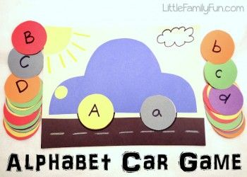 Make a car frame and a variety of wheels: Alphabet/(beginning/end) picture, numbers words/numerals, colors/objects (Alphabet Game Preschool Lesson Plan)