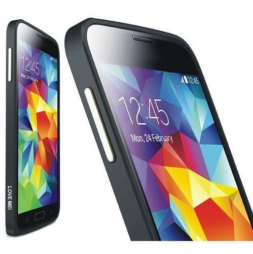 LOVE MEI 0.7mm metalen bumper zwart voor Samsung Galaxy S5