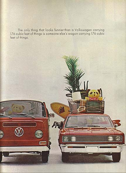 The only thing that looks funnier than a Volkswagen carrying 176 cubic feet of things is someone else's wagon carrying 176 cubic feet of things.
