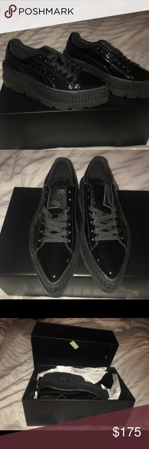 Size 5.5 Fenty Puma Women's Creeper Patent Leather 100% real, authentic Fenty X Rihanna Platform Creepers. Black Patent leather. Never ever been worn, comes with original packaging!! Bought them online and (foolishly) didn't check the return policy and paid full price but they end up not fitting😿. Up for price negotiation! Puma Shoes Sneakers
