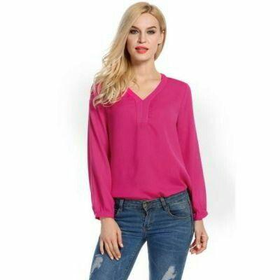 V Neck Solid Loose Long Sleeve Blouse Tops Rose Red | pinknee.com