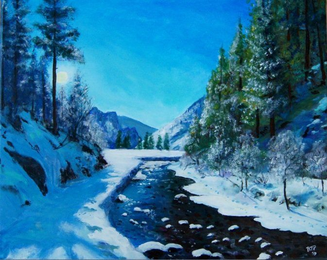 Dolina Kościeliska/ Kościeliska Valley #Tatry -  inspired by sunny #winter day in Tatra mountains. #Mountain landscape #painting by Bozena Zajiczek-Panus
