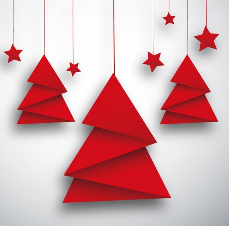 Origami Christmas Tree And Red Star Card Vector