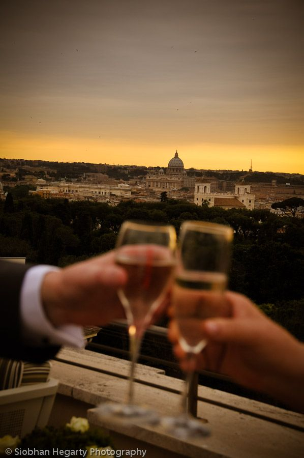 Prosecco on the rooftop of the Marriot grand Rome wedding.