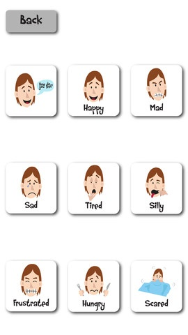 Emotions and Feelings Autism Social Story ($2.99) This app includes a social story about different emotions and feelings you may have throughout the day, and a simple visual support for asking how someone is feeling, or identifying feelings or emotions. The story focuses on why or when a person may feel something, and what may cause different feelings or emotions.