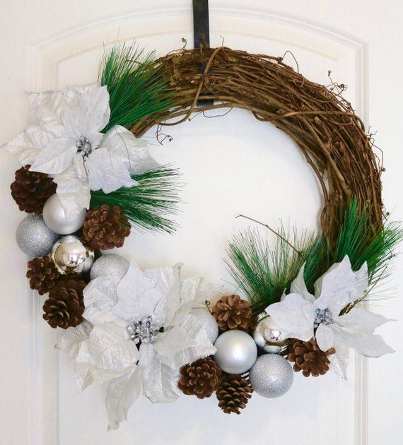 Silver And White Christmas Wreath Front Door Poinsettia White Christmas Decoration Pinecone Sil White Christmas Wreath Christmas Wreaths