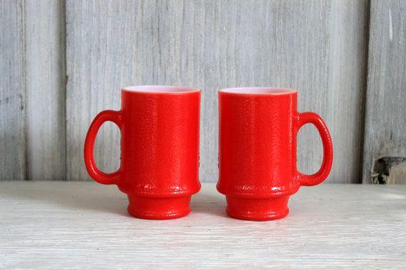 red mugs // coffee mug cocoa mug // pair of by umbrellafant, $9.00