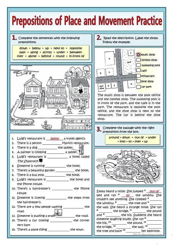 Prepositions Of Movement Worksheets Idiomas