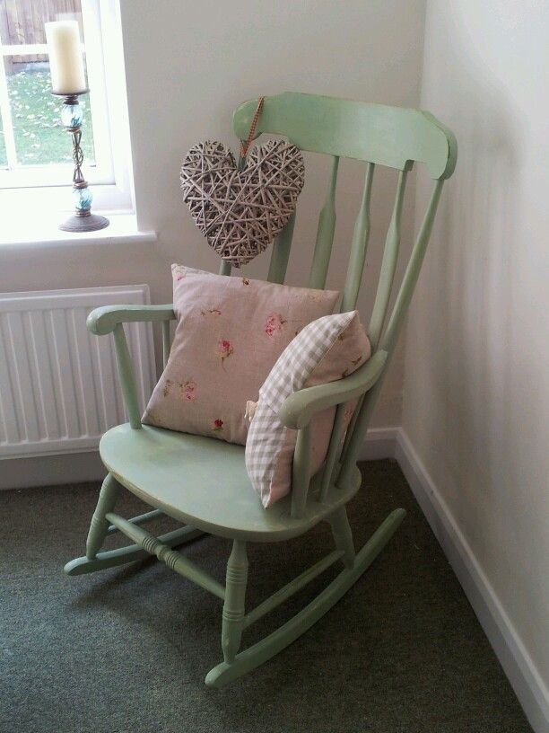 Lovely Rocking Chair painted in 50 shades of green. #Annie #Sloan