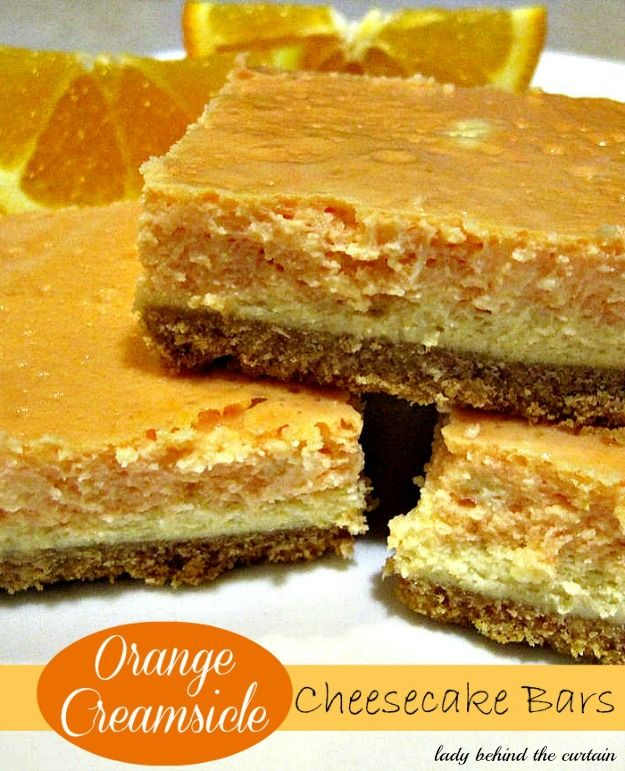 Lady Behind The Curtain - Orange Creamsicle Cheesecake Bars